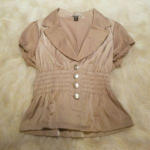 Body Central Beige Collared Silky Button Up Top